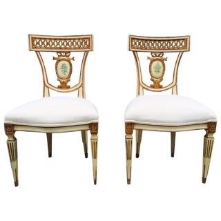 Pair of 19th Century Italian Neoclassical Side Chairs For Sale