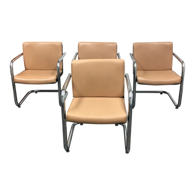 Krueger Tan Faux Leather and Chrome Armchairs - Set of 4 - Image 1 of 7