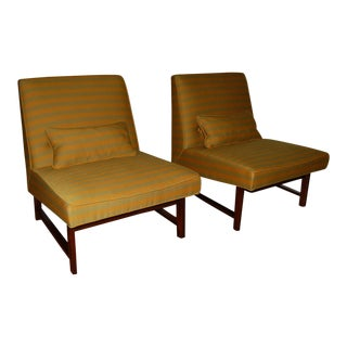 Dunbar Slipper Chairs by Edward Wormley in Ochre