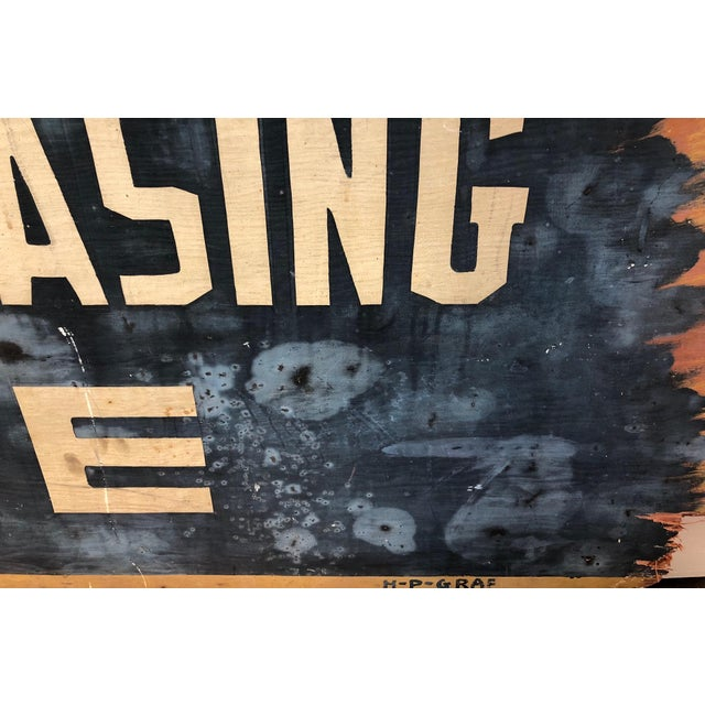 Vintage 'Specialized Lubrication & Greasing Service' Automotive Sign For Sale - Image 4 of 6