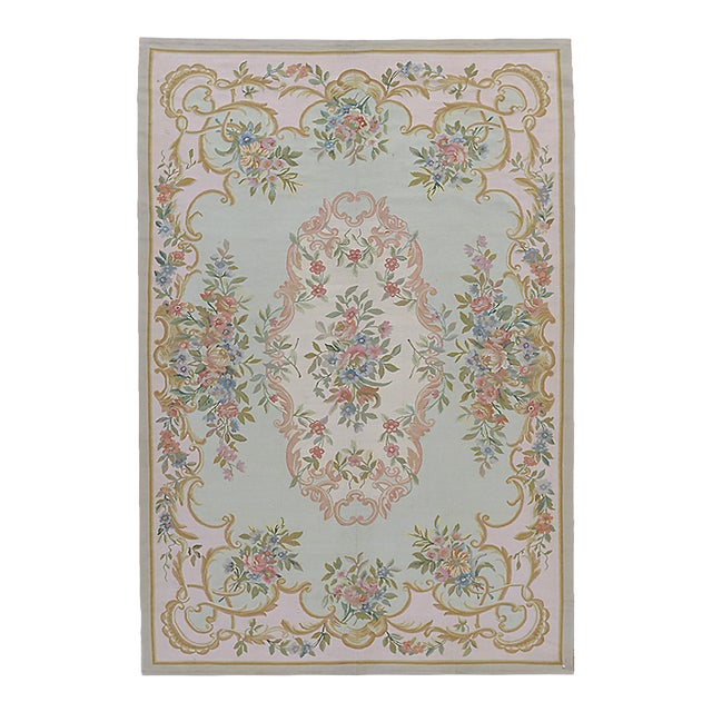 "Pasargad Aubusson Hand Woven Wool Rug - 6'1"" x 8'11"" For Sale"