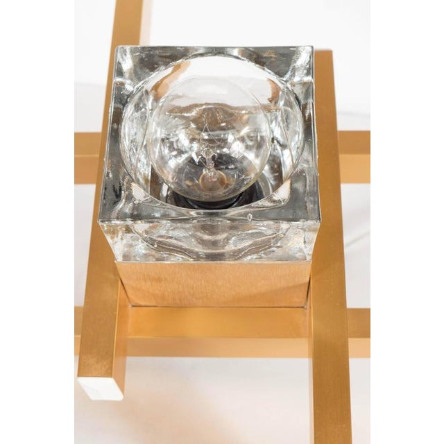 Mid-Century Modern Mid-Century Modernist Flush Mount Brass and Cubed Glass Fixture by Sciolari For Sale - Image 3 of 9