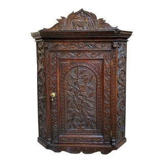 Antique English Carved Oak Corner Wall Cabinet For Sale