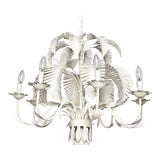 Image of Vintage Italian White Tole Regency Art Deco Palm Beach Chic Frond Leaves Chandelier For Sale