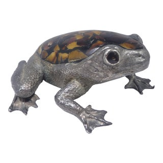 Large Maitland Smith Inlaid Stone Metal Frog For Sale