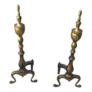 Firedogs Brass Federal Style Fireplace Andirons - a Pair For Sale