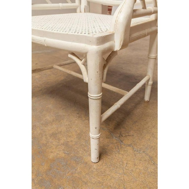 Chinese Chippendale Faux Bamboo Armchairs - Pair - Image 7 of 8