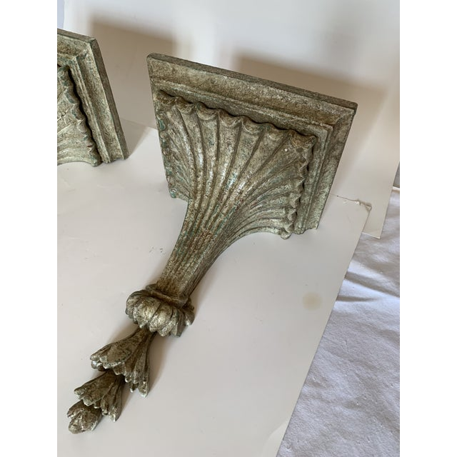 Gray 1950s Vintage Italian Carved and Painted Wood Corbel Brackets - a Pair For Sale - Image 8 of 12