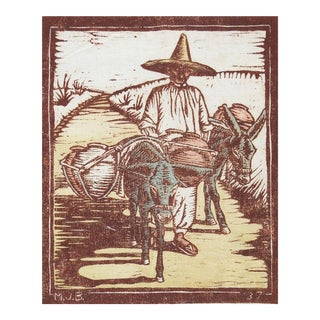 1937 Wood Block Print With Donkeys For Sale