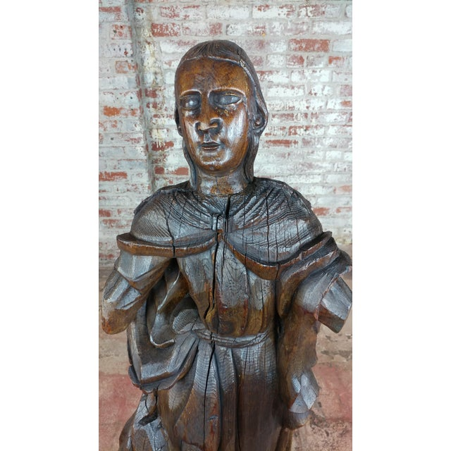 French 17th Century Antique French Carved Oak Santo Figure For Sale - Image 3 of 12