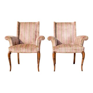 Hollywood Regency Fireside Scroll Arm Chairs, Pair For Sale