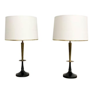 Mid Century Black and Brass Lamps - a Pair