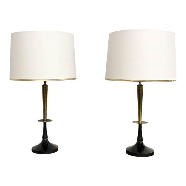 Mid Century Black and Brass Lamps - a Pair - Image 1 of 6