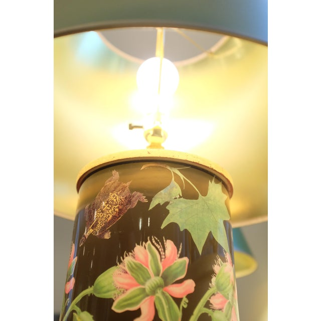 2010s Decoupage Flower Lamp With Green Painted Shade For Sale - Image 5 of 12