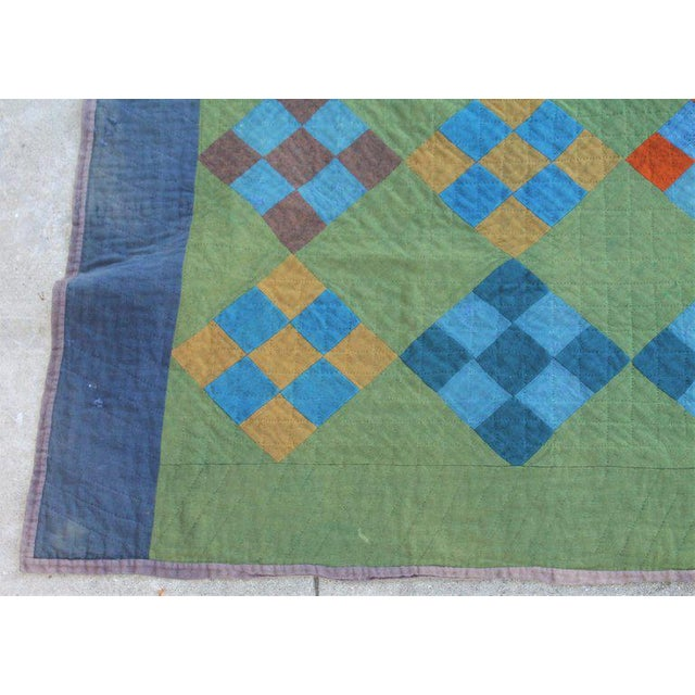 Antique Amish Nine Patch Wool Quilt For Sale - Image 4 of 9