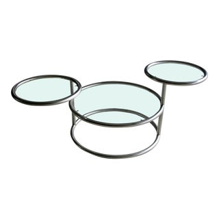 Silver Three Tiered Swing Arm Cocktail Table in the Style of Milo Baughman For Sale