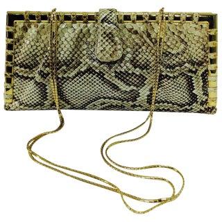 Judith Leiber Natural Python Gold Frame Snake Chain Handbag or Clutch For Sale