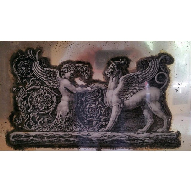 French 19th Century Neoclassical Eglomise Mirror With Angel & Griffin For Sale - Image 3 of 7
