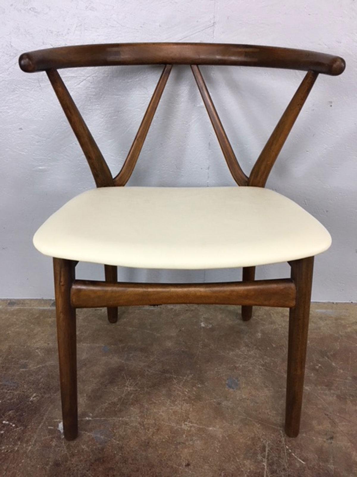 Henning Kjaernulf For Bruno Hansen Leather And Walnut Side Chairs  A Pair    Image 3