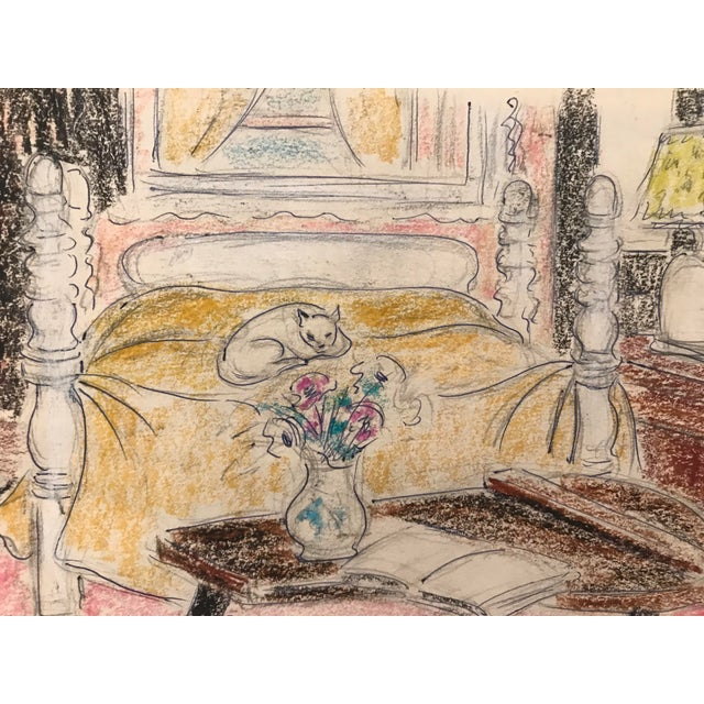 Contemporary 1940s Contemporary Pastel of a Cat in an Interior For Sale - Image 3 of 3