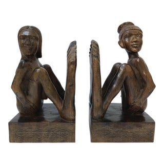Wooden Figurative Bookends - A Pair For Sale
