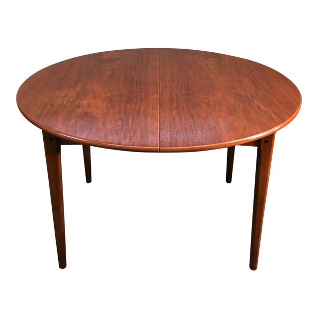 Round Mid-Century Teak Dining Table - Image 1 of 10