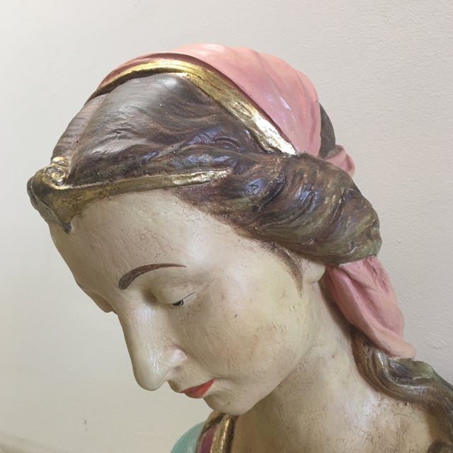 French Hand Painted Paper Mache Female Bust For Sale - Image 3 of 11