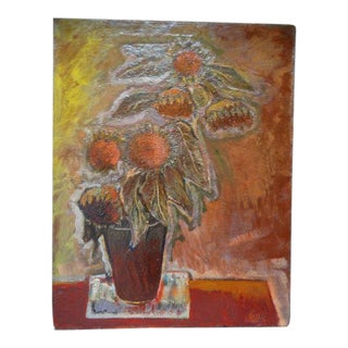 """""""Sunflowers"""" Oil Painting by Anders Aldrin For Sale"""