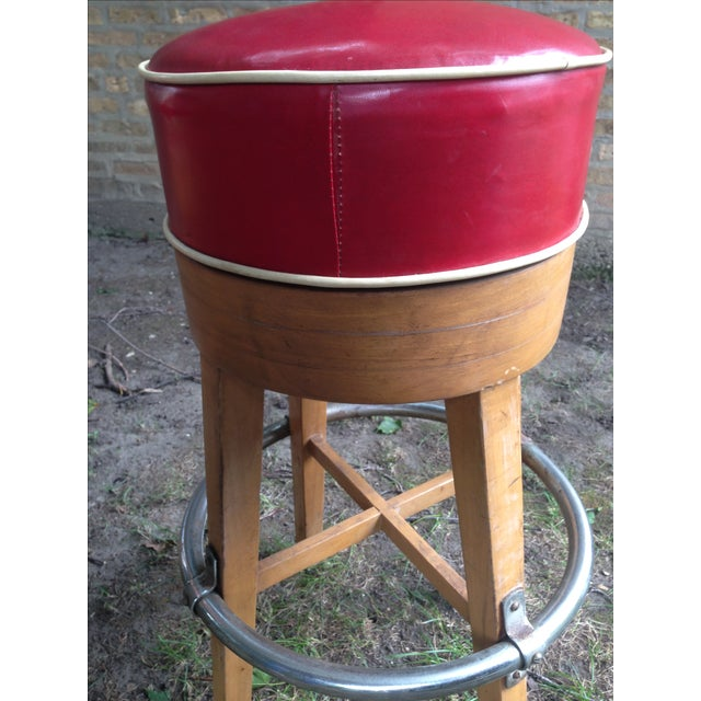 Vintage Thonet-Style Red Vinyl Bar Stools - A Pair - Image 4 of 4