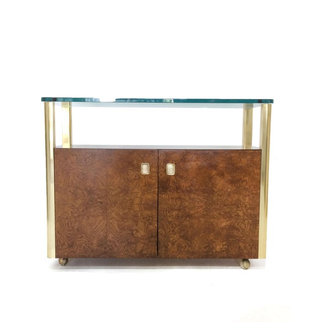 Mid Century brass, glass and burled wood console by Century Furniture Company. Amazing side piece with brass side rail...