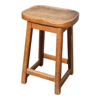Vintage French Country Farmhouse Chic Rustic Stool W Saddle Seat Bench For Sale
