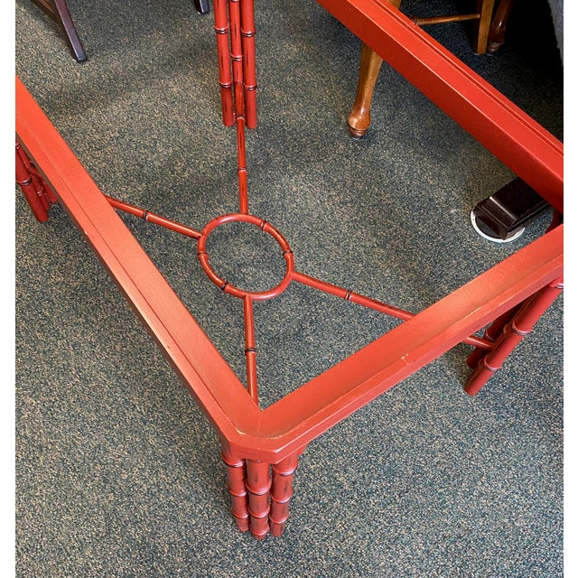 Traditional Baker Furniture Asian Style Red Tray Table For Sale - Image 3 of 7