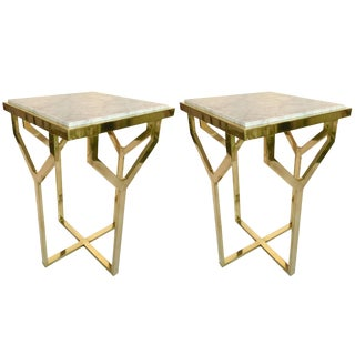 Contemporary Pair of Side Table Y Brass and Marble, Italy For Sale