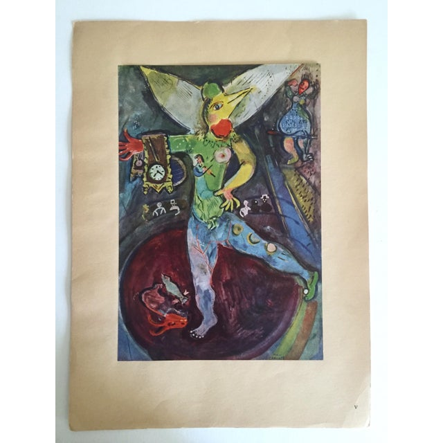 """Paper Marc Chagall Vintage 1947 Rare Limited Edition French Lithograph Print """" L' Acrobate """" For Sale - Image 7 of 12"""
