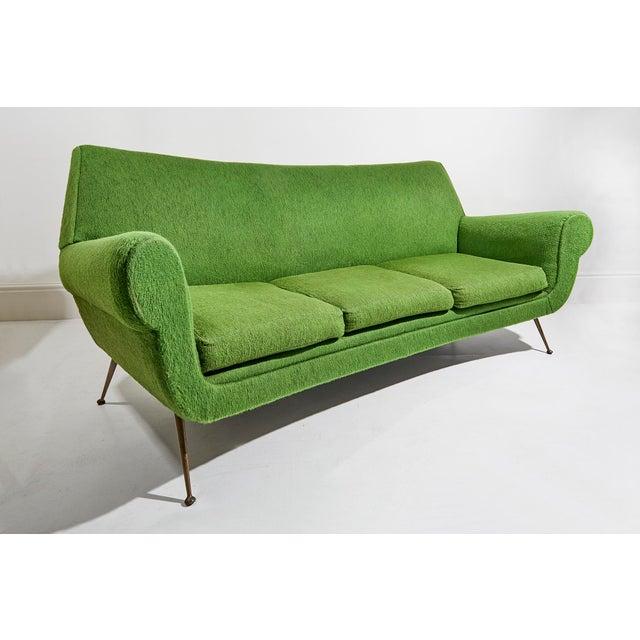 Italian Curved Three Seater Sofa by Gigi Radice For Sale - Image 3 of 5