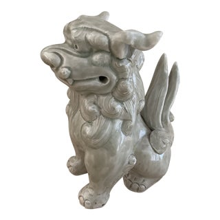 Pale Celadon Green Chinese Ceramic Foo Dog For Sale