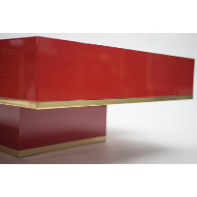 Rare j.c. Mahey Red Lacquer and Brass Coffee Table, 1970s For Sale - Image 11 of 13