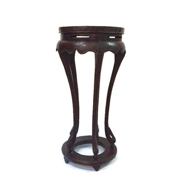 "Vintage Chinese Pedestal Stand Carved Wood Chinoiserie Display Stand Plant Stand 36"" For Sale - Image 9 of 13"