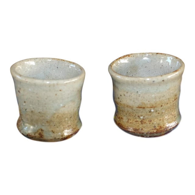 Vintage Studio Pottery Ceramic Stoneware Saki Cups For Sale