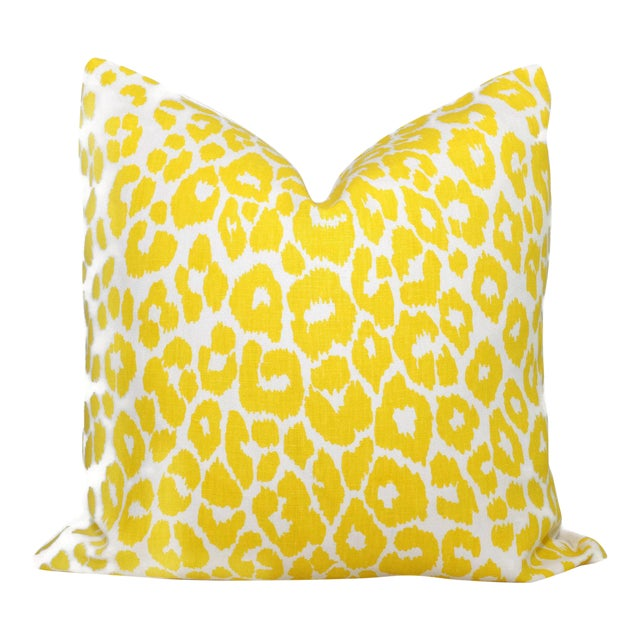 """20"""" x 20"""" Schumacher Iconic Leopard in Yellow Decorative Pillow Cover - Image 1 of 3"""