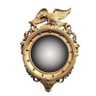 1960s Vintage Syroco Neo-Classic Federal Style Gold Painted Framed Convex Wall Mirror For Sale