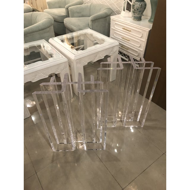 Lucite Vintage Hollywood Regency Radiator Lucite Dining Table Desk Bases -A Pair For Sale - Image 7 of 12