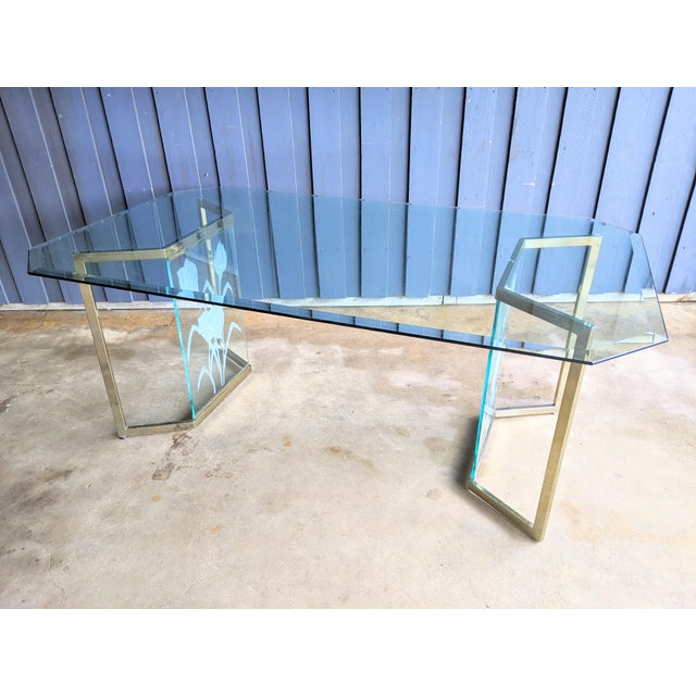 1970s Boho Chic Glass Desk or Dining Table For Sale In Dallas - Image 6 of 13
