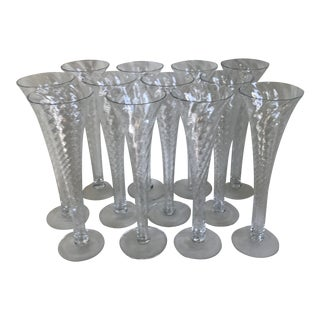 Vintage Romanian Mouth Blown Crystal Spiral Twist Trumpet Style Champagne Flutes - Set of 12 For Sale