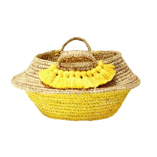 Raffia Belly Basket With Yellow Roman Tassels For Sale