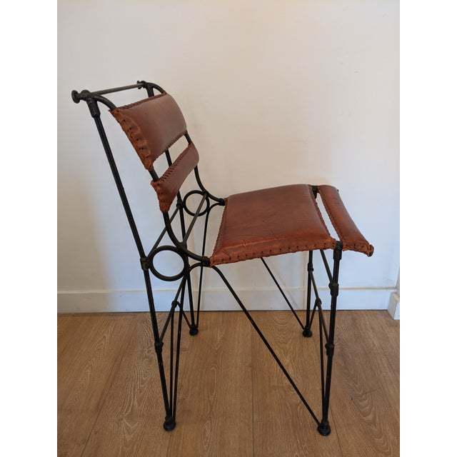 Ilana Goor Brutalist Pair of Industrial Leather and Iron Barstools by Ilana Goor. For Sale - Image 4 of 9