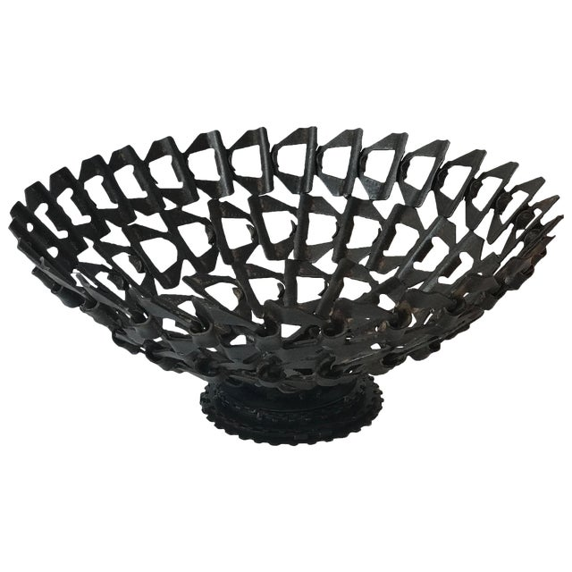 Mid-Century Decorative Bowl Made From Repurposed Iron Conveyor Belt For Sale