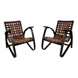 Mid-Century Modern Jan Vanek Bentwood Easy Arm Chairs Woven Straps - a Pair