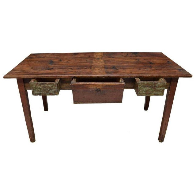 French Provincial Rustic Danish Pine Work Table For Sale - Image 3 of 4