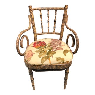 Painted Faux Bamboo Chair With Removable Floral Seat For Sale